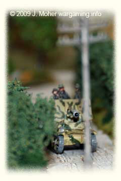 "A Lorraine Schlepper Marder I moves cautiously down a Normandy ""Bocage Country"" hedge lined lane."