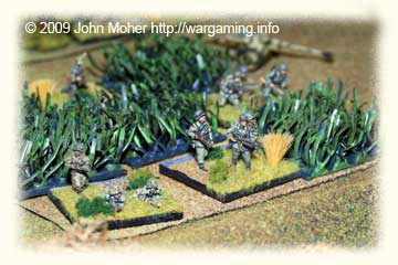 German Infantry Platoon establishes itself in a Crop Field.