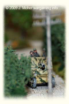 A Marder ambles down one of the Bocage-Hedge lined lanes.